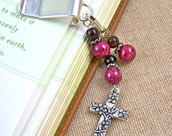 Cross Bookmark - Silver Plated Cross, Chain and Clip - Crimson and Wine Red Glass & Stone Beads