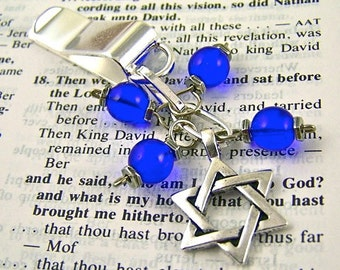 Star of David Bookmark - Silver Plated Chain - Silver Plated Clip - Cobalt Blue Glass Beads - Silver Plated Charm