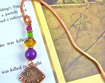 Bookmark - Tribal Shield Charm - Jewel Tones Purple Amber Green Red Beads with Hand Forged Hammered Copper Shepherd Hook