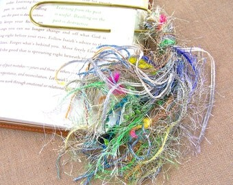 "Bookmark -  BIG 4"" Oversized Paperclip and Fancy Yarn Fiber Puff Tassel - Lavender, Teal, Lime Green Watercolor"