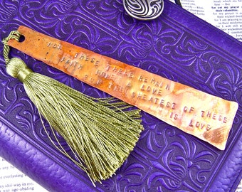 Bookmark - Love Bible Quote Corinthians - Hammered Forged Copper - Wedding Bridal Gift - Faith Quote Personalized