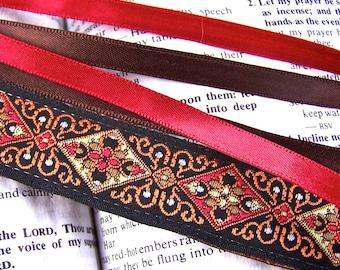 Jacquard Bookmark - Persian Carpet Motif / Orange, Red & Brown Jacquard Ribbon with Brown and Red Satin Ribbon Tassels