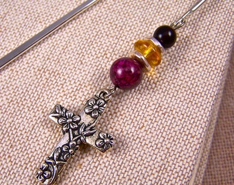 Bible Bookmark - Silver Plated Floral Cross with Magenta Stone and Mixed Media Beads - Silver Plated Shepherds Hook