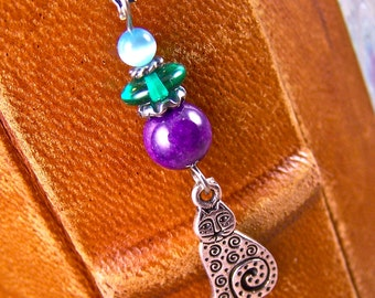 Bookmark - Silver Plated Pewter Cat with Mixed Media Beads / Silver Plated Shepherds Hook Green Glass & Purple Stone