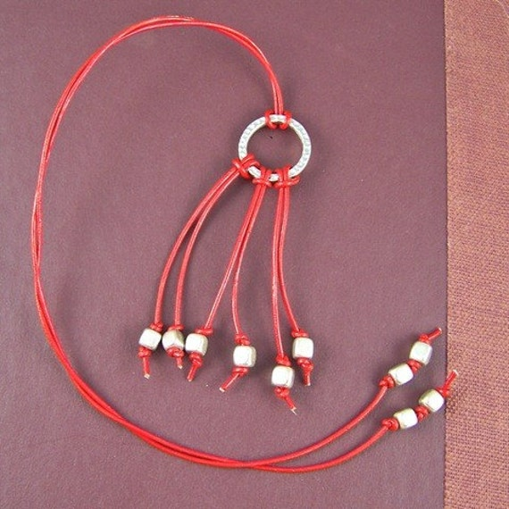 Bookmark - Red Leather Cord with Silver Beads - Indie Modern