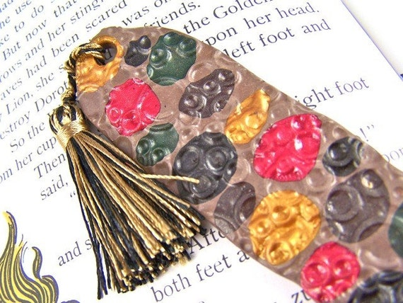 Polymer Clay Book Mark / Gold Red Black/Brown Polka Dots - Black & Gold Tassel