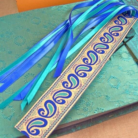 Bookmark - Paisley Art Deco Jacquard Ribbon / Blue, Aqua Teal & Gold with Satin Ribbon Tassel