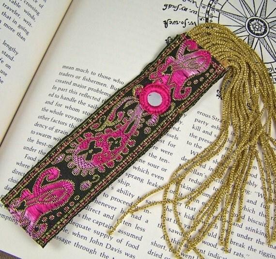 Bookmark - Indian Motif Jacquard Ribbon - Pink, Black, Gold & Mirrors - Golden Fringe