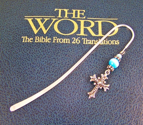 Cross Bookmark with Light Blue Tiger Eye Stone and Silver Colored Beads - Silver Colored Shepherd Hook