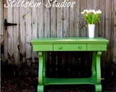 RESERVED Shabby Spring Green Cottage Table Desk