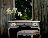 Versailles Collection French Gilded Vanity Desk Mirror Bench
