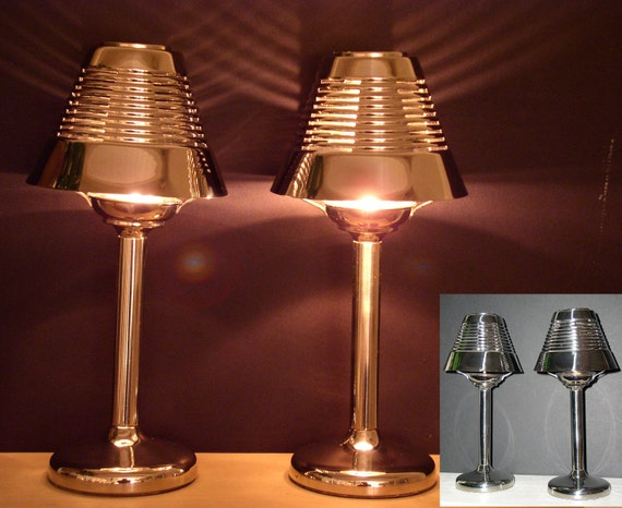 Tea Light Candle Holder Table Lamps Art Deco Style With Ribbed
