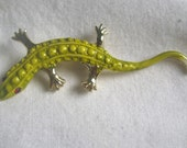 Lime Green Enamel Lizard Brooch w/Rhinestone Eyes