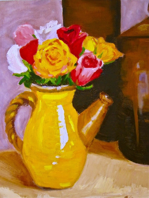 Original oil painting:  Roses in yellow teapot still life
