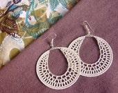 White cream crochet earrings