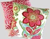 SALE Annie Selke Raspberry Floral Pillow Cover 18x18