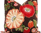 Pink, Red, Orange Poppies on Brown Decorative Pillow Covers Square or Lumbar Pillow - Accent Pillow, Throw Pillow, Pillow Cushion