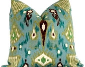 Robert Allen Turquoise Ikat Pillow Cover Lumbar Pillow - Accent Pillows, Throw Pillows, Toss Pillows