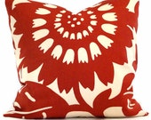 Duralee Red Sunflower Pillow Cover 20x20, 22x22 or 24x24