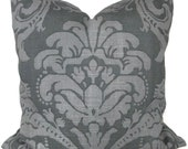 SALE - Duralee Charcoal Gray Damask Pillow Cover  22x22