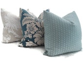 1 Pair of Brunschwig and Fils Teal Blue Damask Decorative Pillow Cover, 18x18 or 20x20