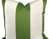 Green and White Cabana Stripe Indoor Outdoor Pillow Cover, 18x18, 20x20, 12x24 or 12x20