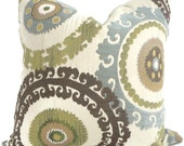 Green Suzani  Pillow Cover 18x18, 20x20 or 22x22