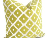 Lime Green and white Ikat Pillow Cover
