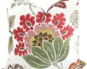 SALE. Jacobean Floral Decorative Pillow Cover Red, Green and Brown 18x18, 20x20, 22x22 Eurosham, Accent Pillow Throw Pillow - Pillow Cushion
