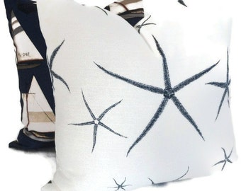 Pillow Cover White and Navy Blue or Tan Starfish Decorative  Square, Eurosham or lumbar pillow cover, accent pillow case Lacefield Textiles