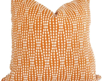 Pillow Cover, Orange and White Reversible Dot Decorative Pillow Cover, Accent Pillow, Throw Pillow