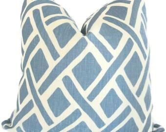 Blue Trellis Decorative Pillow Cover Kravet  18x18, 20x20, 22x22 or lumbar Eurosham, pillow case, pillow cushion, accent pillow