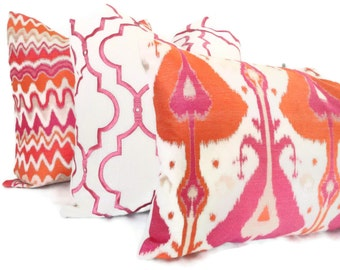 Orange and Pink Ikat Decorative Pillow Cover, 18x18, 20x20, 22x22, Eurosham or Lumbar Pillow, Throw Pillow, Accent Cushion