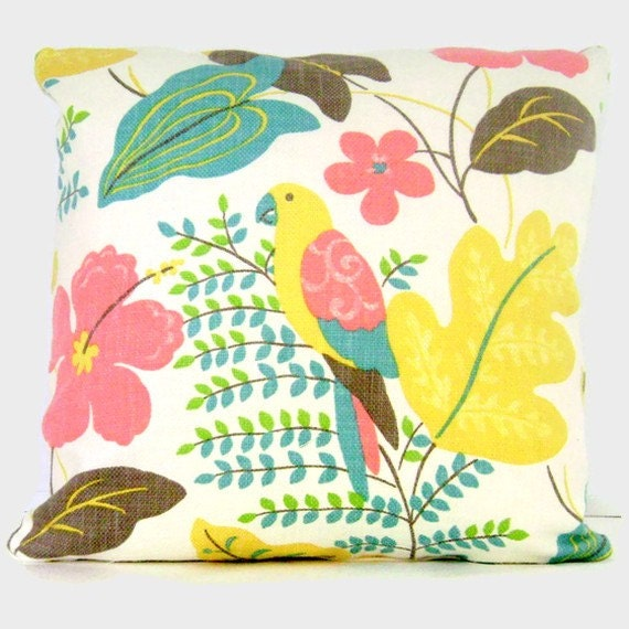 SALE Tropical Decorative Pillow Cover with Parrot, 18x18, 20x20, 22x22 - Accent Pillow, Tropical Pillow, Throw Pillow