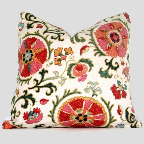 SALE Pink and Red Suzani Pillow Cover Decorative Pillow Cover, Accent Pillow, Throw Pillow, Toss Pillow