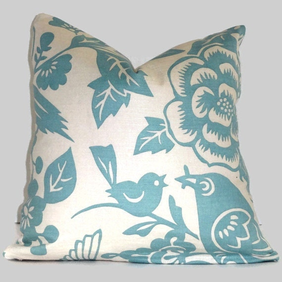 Duralee Robin Egg Blue, Aviary  Decorative Pillow Cover