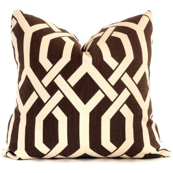 Chocolate Brown and Cream Lattice Decorative Pillow Covers 18x18, 20x20, 22x22