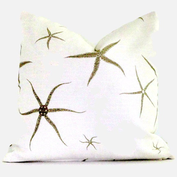 White and Tan Starfish Decorative Pillow Cover 18x18