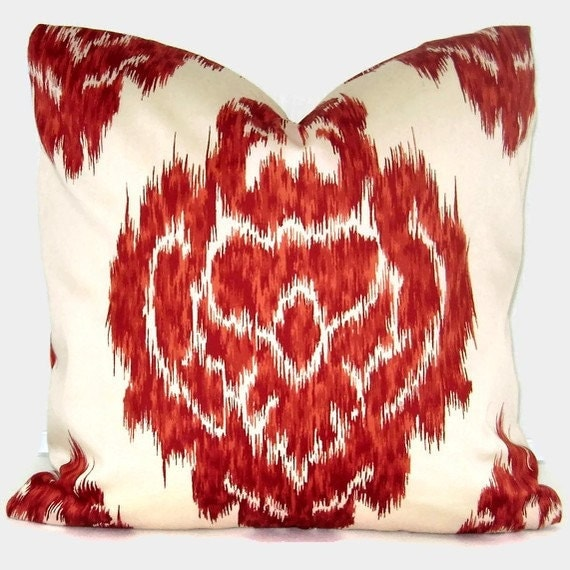 Duralee red ikat decorative pillow cover 18x18 20x20 22x22 - Fabric for throw pillows ...