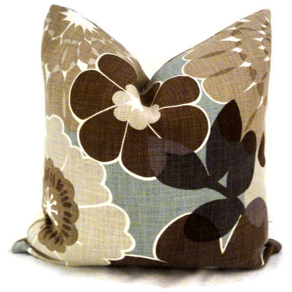 Brown and Aqua Floral Decorative Pillow Cover square of lumbar