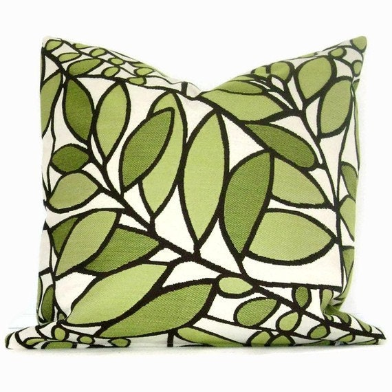 Lime Green and Brown Leaves and Branches Pillow Cover 18x18, 20x20, 22x22, 14x20 or 12x24