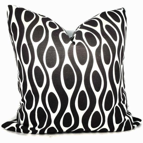 SALE Black  Linen Circles Pillow Cover 18x18, 20x20 or 22x22