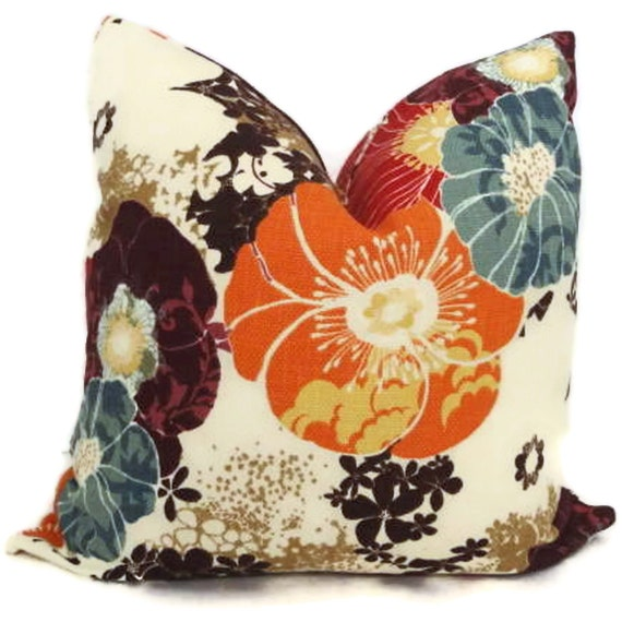 Colorful Floral Decorative Pillow Cover 18x18, 20x20 or 22x22