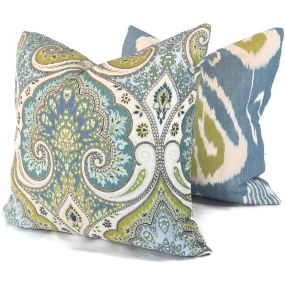 Lime Green And Blue Ikat Pillow Cover 18x18 20x20 Or By