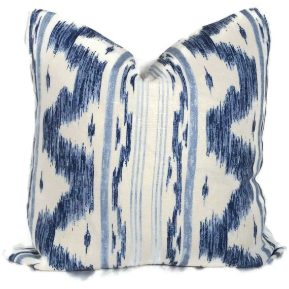 Blue and White Linen Ikat Decorative Pillow Cover 12x20