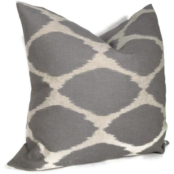 West Elm Gray Ikat Decorative Pillow Cover Lumbar Pillow, Accent Pillow, Throw Pillow, Toss Pillow