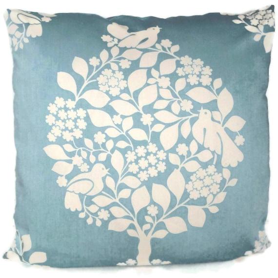 Duralee Light Blue Tree of Life Decorative Pillow Sham 18x18, 20x20, 22x22 or 24x24