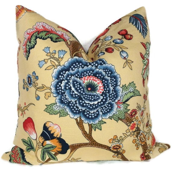 Duralee Yellow and Blue Jacobean Floral Decorative Pillow