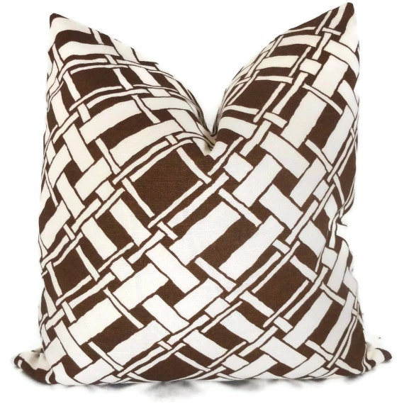 SALE Duralee Brown Bamboo Trellis Decorative Pillow Cover 18x18, 20x20 or 22x22