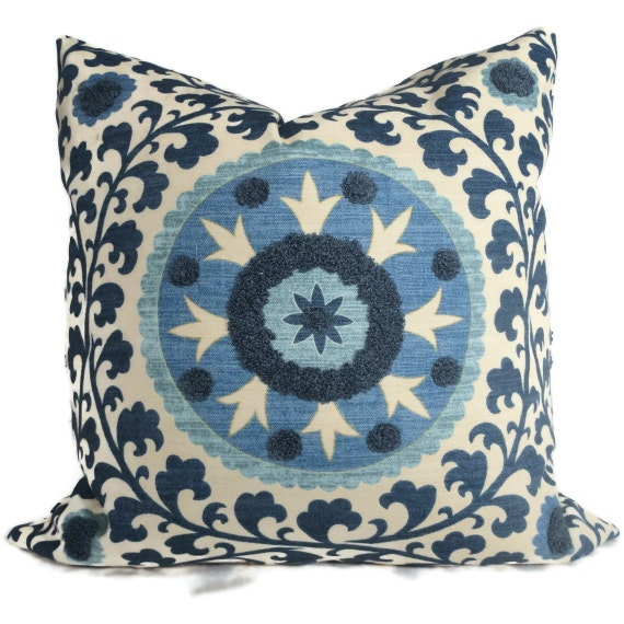 Blue Tufted Tribal Suzani Decorative Pillow Cover 18x18, 20x20 or 22x22 inch or Lumbar Pillow, Throw Pillow, Accent Cushion, Blue Suzani